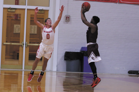 Connor Rotterman '21 attempts to block a shot. (Photo by Ian Ward '19)